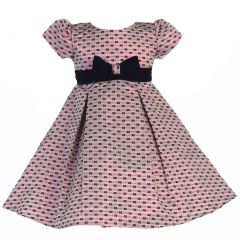 Lito Little Girls Pink Velvet Sash Bows Jacquard Christmas Dress 2T-6