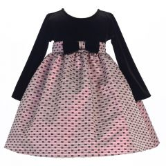 Lito Little Girls Pink Stretch Velvet Bows Jacquard Christmas Dress 2T-6