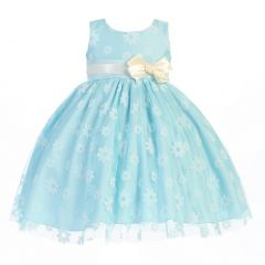 Lito Big Girls Blue Bow Flocked Tulle Special Occasion Easter Dress 7-10