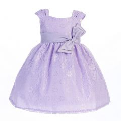 Lito Big Girls Lilac Embroidered Bow Sash Tulle Easter Dress 7-10