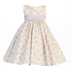 Lito Little Girls Lilac Floral Print Poly Shantung Sash Easter Dress 2T-6
