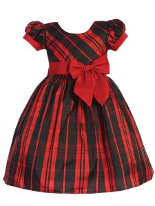 Lito Toddler Girls Red Black Plaid Short Sleeve Ribbon Christmas Dress 2T-4T