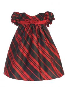 Lito Baby Girls Multi Color Plaid Short Sleeve Classic Christmas Dress 3-24M