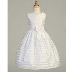 Lito White Striped Organza Tea Length First Communion Dress Girls 7-12