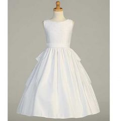Lito White Satin Pearled Tea Length First Communion Dress Girls 6-14