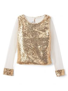 Little Miss Fashion Big Girls Gold Sequins Long Transparent Sleeves Top 7-12