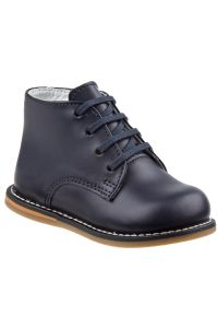 Josmo Unisex Navy Leather Logan First Walker Shoes 2 Baby-8 Toddler