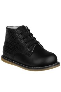 Josmo Unisex Black Woven Leather Logan First Walker Shoes 2 Baby-8 Toddler