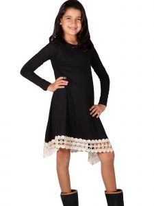Lori & Jane Big Girls Black Lace Crochet Trim Long Sleeve Tunic Dress 14