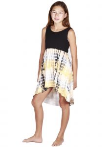 Lori Jane Big Girls Black Yellow White Hi-Low Trendy Dress 6-16