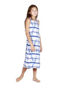 Lori Jane Big Girls Blue Tie Dye Maxi Trendy Dress 6-16