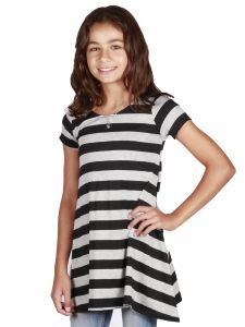 Lori Jane Big Girls Black Gray Stripe S-S Tunic Trendy Dress 6-16