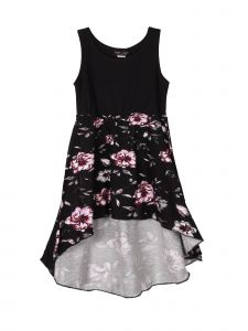 Lori Jane Big Girls Black Floral Hi-Low Trendy Dress 6-16
