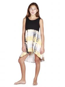 Lori Jane Big Girls Black Yellow Tie Dye Hi-Low Trendy Dress 6-16