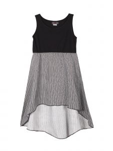 Lori Jane Big Girls Black And White Hi-Low Trendy Dress 6-16