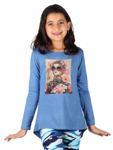 Lori Jane Big Girls Steal Blue Graphic Tunic 6-14