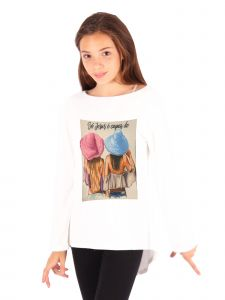 Lori Jane Big Girls Ivory Graphic Tunic 6-14