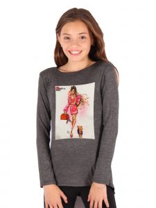 Lori Jane Big Girls Charcoal Graphic Tunic 6-14