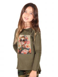 Lori Jane Big Girls Olive Graphic Tunic 6-14