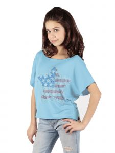 Lori Jane Big Girls Multi Color Rhinestone Star Patriotic T-Shirt 6-16
