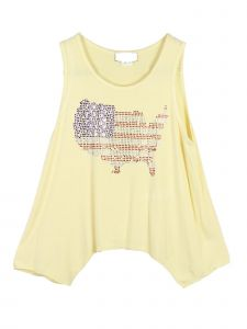 Lori Jane Big Girls Multi Color Rhinestone USA Asymmetrical Patriotic Tank Top 6-16