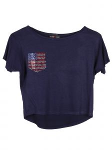 Lori Jane Big Girls Navy Blue Rhinestone Patriotic T-Shirt 6-16