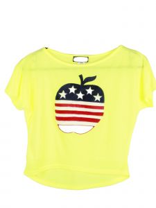 Lori Jane Big Girls Yellow Apple Print Patriotic T-Shirt 6-16