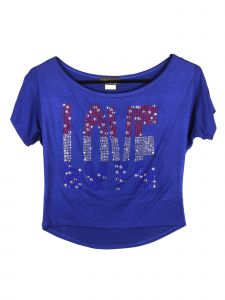 Lori Jane Big Girls  Royal Blue Rhinestone Stars Patriotic T-Shirt 6-16