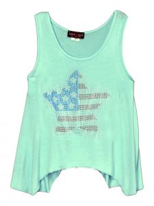 Lori Jane Big Girls Green Rhinestone Star Asymmetrical Patriotic Tank Top 6-16