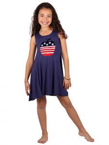 Lori Jane Big Girls Navy Blue Apple Print Patriotic Tank Dress 6-16