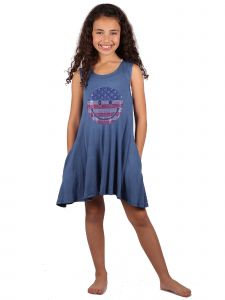 Lori Jane Big Girls Steal Blue Rhinestone Patriotic Tank Dress 6-16
