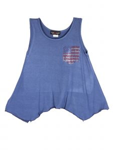 Lori Jane Big Girls Steal Blue Rhinestone Patriotic Tank Top 6-16
