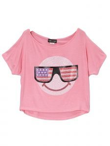 Lori Jane Big Girls Multi Color Rhinestone Patriotic T-Shirt 6-16
