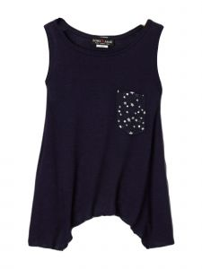 Lori Jane Big Girls Navy Blue Asymmetrical Patriotic Tank Top 6-16