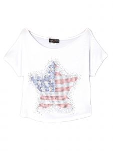 Lori Jane Big Girls White Rhinestone Star Patriotic T-Shirt 6-16