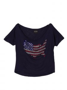 Lori Jane Big Girls Multi Color Blue Rhinestone USA Patriotic T-Shirt 6-16