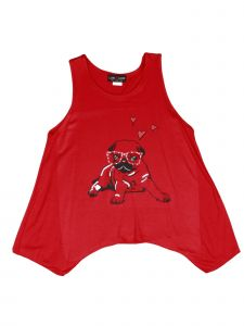 Lori Jane Big Girls Red Graphic Tank Top 6-16