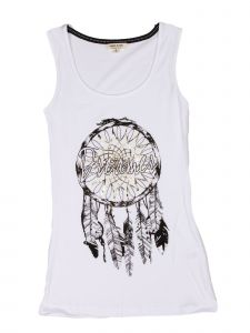 Lori Jane Big Girls White Graphic Tank Top 10-18