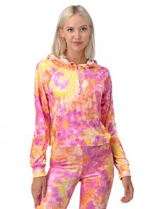 Lori Jane Big Girls Yellow Pink Tie  Dye Long Sleeve Hoodie 12-18