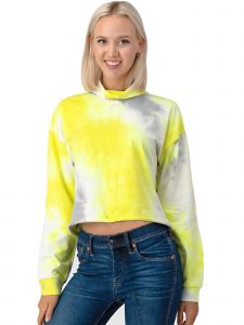 Lori Jane Big Girls Yellow Gray Tie  Dye Turtle Neck Huddle 12-18