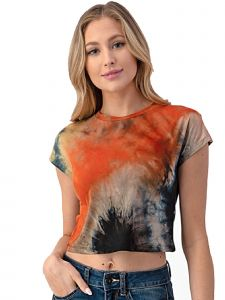 Lori Jane Big Girls Multi Color Orange Tie Dye Short Sleeve Top 12-18
