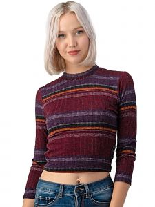 Lori Jane Big Girls Multi Color Burgundy Striped Ribbed Knit Crop Top 12-18