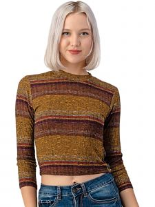 Lori Jane Big Girls Multi Color Mustard Striped Ribbed Knit Crop Top 12-18