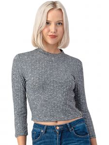 Lori Jane Big Girls Multi Color Gray Striped Ribbed Knit Crop Top 12-18