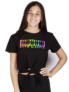 Lori Jane Big Girls Black Love is Love Short Sleeve Top 12-18