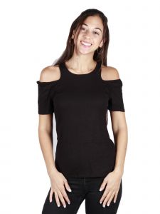 Lori Jane Big Girls Black Cold Shoulder Short Sleeve Top 10-16