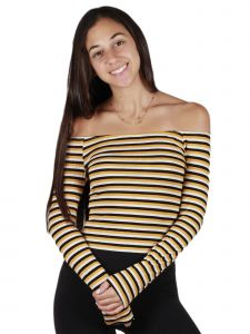 Lori Jane Big Girls Yellow Multi Color Striped Off Shoulder Long Sleeved Top 10-16