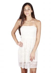 Lori Jane Big Girls Ivory Lace Elastic Top Sleeveless Dress 12-18