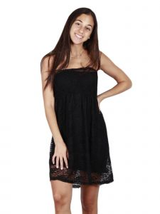 Lori Jane Big Girls Black Lace Elastic Top Sleeveless Dress 12-18