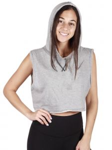 Lori Jane Big Girls Gray Sleeveless Hooded Crop Top 12-18